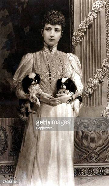 British History, Royalty, Illustration, Queen Alexandra, wife of King Edward VII, with her two dogs, Circa 1903