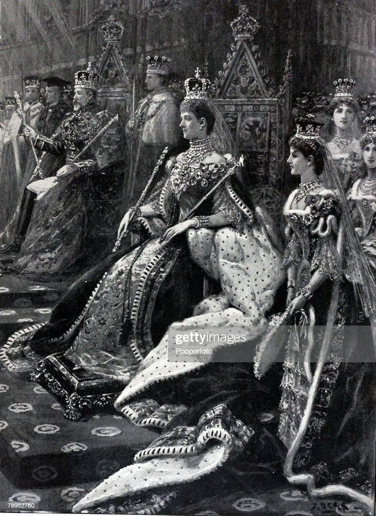 British History. Royalty. Illustration. The Coronation ceremony shows Alexandra, Queen Consort, with King Edward VII to her left. Westminster Abbey, August 9th 1902. : News Photo