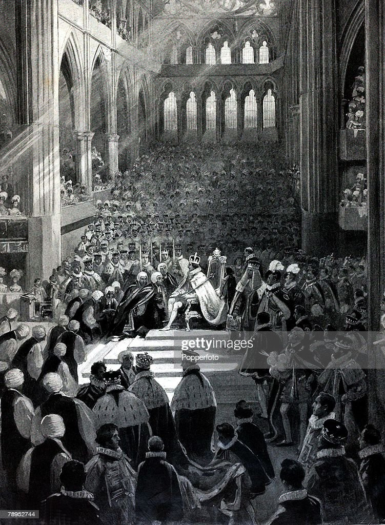 British History. Royalty. Illustration. The Coronation of King George IV in Westminster Abbey shows the fealty (the loyalty to their king) made by the Lords spiritual. July 19th 1831. : News Photo