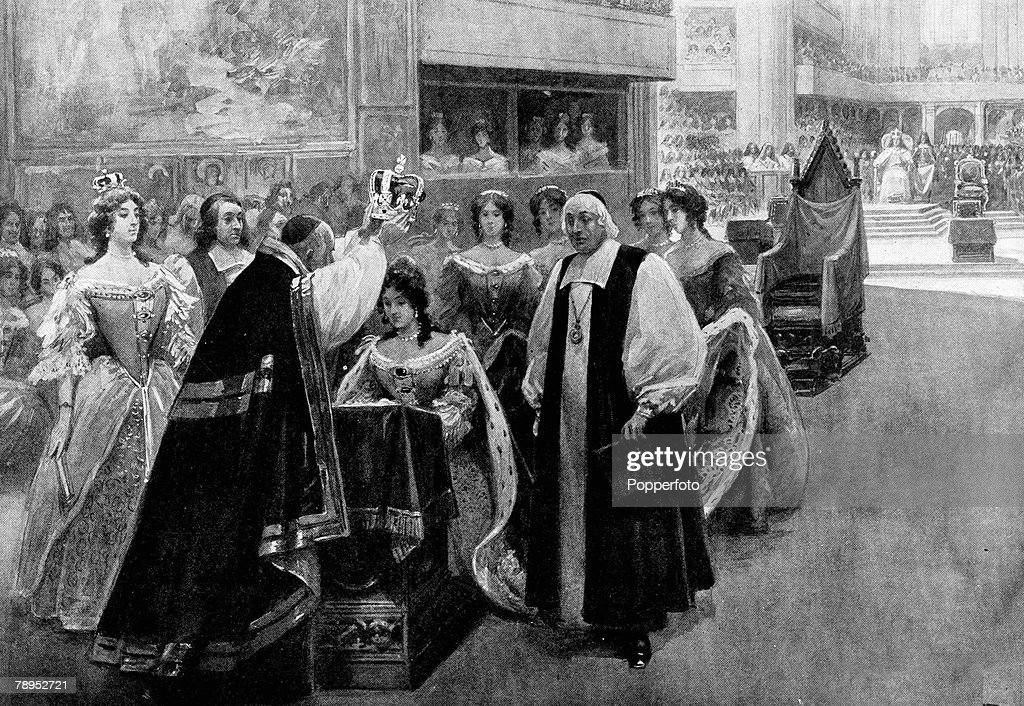 British History. Royalty. Illustration. The crowning of the Queen Consort at the Coronation of James II and Mary of Modena by the Archbishop of Canterbury, William Sancroft in Westminster Abbey. April 23rd 1685. : News Photo