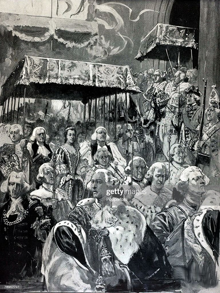 British History. Royalty. Illustration. The procession from Westminster Hall at the Coronation of George III and Queen Charlotte. September 22nd, 1761. : News Photo