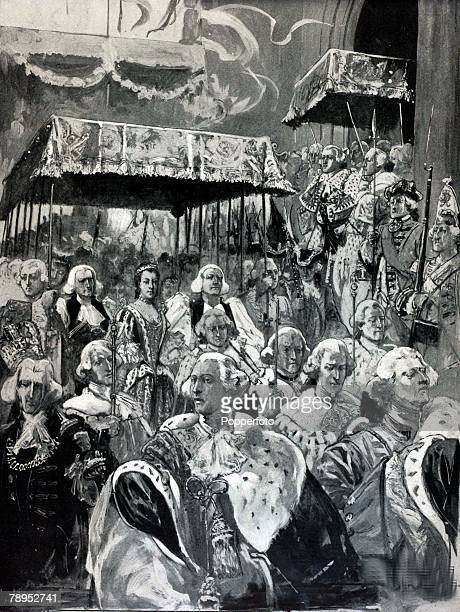 British History Royalty Illustration The procession from Westminster Hall at the Coronation of George III and Queen Charlotte September 22nd 1761