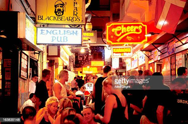 British holidaymakers in the bars of the nightlife district of San Antonio, Ibiza, Spain