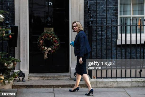British Home Secretary Amber Rudd arrives for the weekly cabinet meeting at Downing Street on December 5 2017 in London England British Prime...