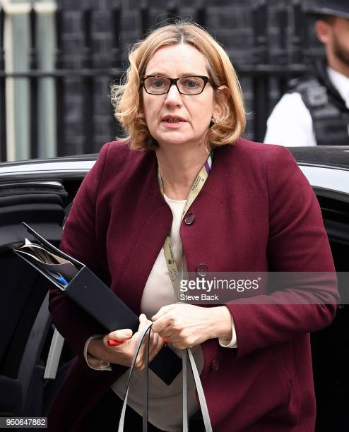 British Home Secretary Amber Rudd arriving at 10 Downing Street for the Weekly Cabinet meeting on April 24 2018 in London England