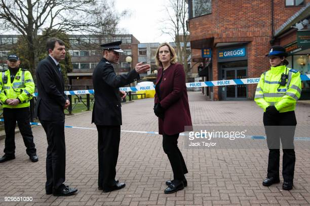 British Home Secretary Amber Rudd is shown the scene connected to the Sergei Skripal nerve agent attack by acting Chief Constable of Wiltshire Police...