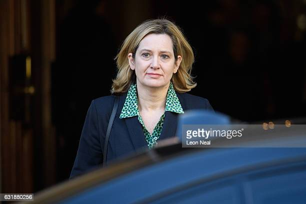 British Home Secretary Amber Rudd leaves after listening to British Prime Minister Theresa May's keynote speech on Brexit at Lancaster House on...