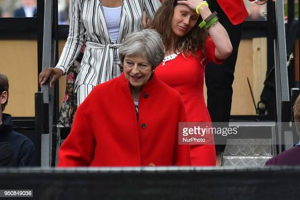 British Home Secretary Amber Rudd leaves Parliament Square after sheattended the official unveiling of a statue in honour of the first female...
