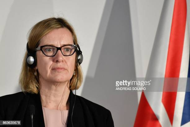 British Home Secretary Amber Rudd looks on during a press conference at the end of the G7 summit of Interior Ministers with European Union...