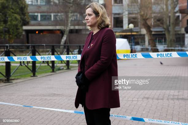 British Home Secretary Amber Rudd visits the scene connected to the Sergei Skripal nerve agent attack on March 9 2018 in Salisbury England Sergei...