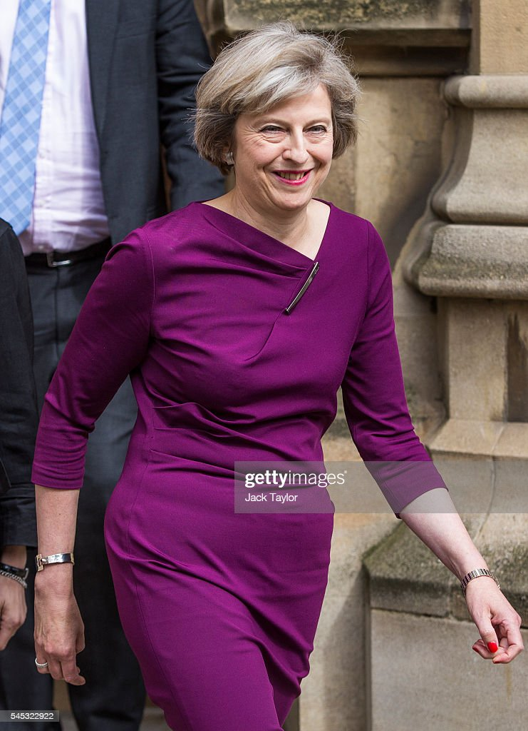 British Home Secretary and Conservative leadership contender Theresa May outside the Houses of Parliament on July 7, 2016 in London, England. Theresa May has the backing of 199 fellow MPs after the second ballot for the leadership of the Conservative Party. Receiving 84 votes, Andrea Leadsom MP joins May on the shortlist presented to the Conservative Party members after Michael Gove was eliminated with 46 votes.