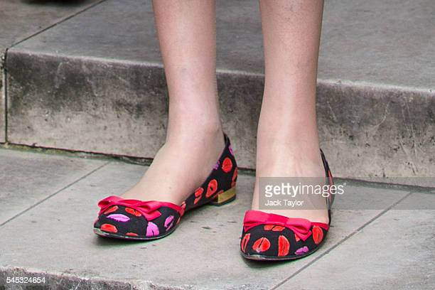 British Home Secretary and Conservative leadership contender Theresa May's shoes as she poses outside the Houses of Parliament on July 7 2016 in...