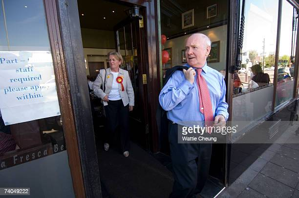 British Home Secretary John Reid joins Scottish First Minister Jack McConnell's visit to Paisley Road West on May 2, 2007 in Glasgow, Scotland....