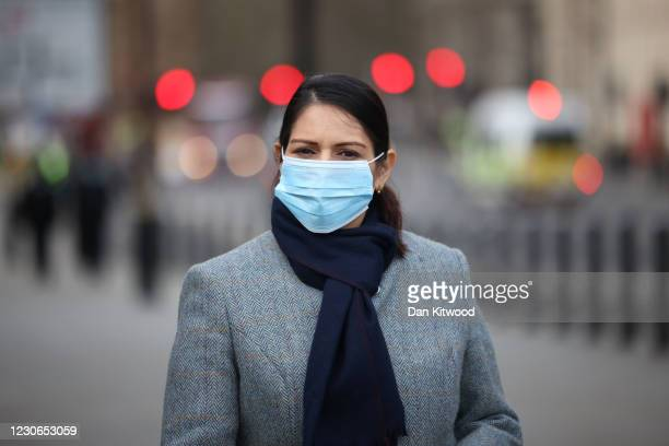 British Home Secretary Priti Patel speaks to the media outside St Thomas' Hospital on January 18, 2021 in London, England. Last week, Ms Patel said...