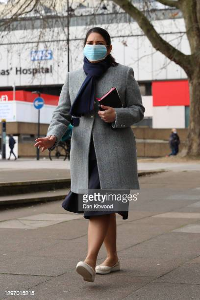 British Home Secretary Priti Patel walks away from St Thomas' Hospital on January 18, 2021 in London, England. Last week, Ms Patel said that Home...