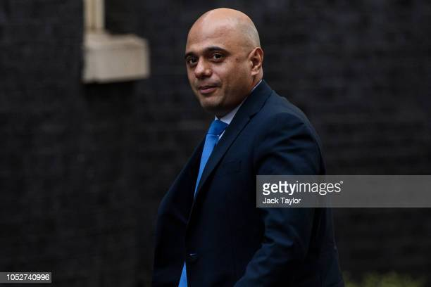 British Home Secretary Sajid Javid arrives at Number 10 Downing Street on October 22 2018 in London England British Prime Minister Theresa May is to...