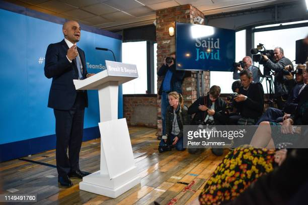 British Home Secretary Sajid Javid delivers a speech as he launches his Conservative Party Leadership Campaign on June 12 2019 in London England