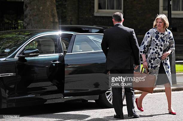 British Home Secretary Theresa May arrives to attend the weekly cabinet meeting at 10 Downing Street in central London on June 15 2010 AFP Photo/Carl...