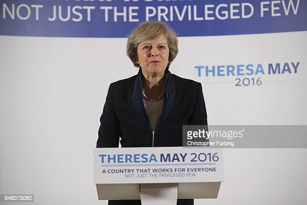 British Home Secretary Theresa May launches her Conservative party leadership campaign at the IET events venue on July 11 2016 in Birmingham England...
