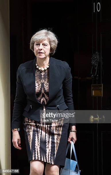 British Home Secretary Theresa May leaves number 10 Downing Street following a Cabinet meeting on July 5 2016 in London England Conservative MPs will...