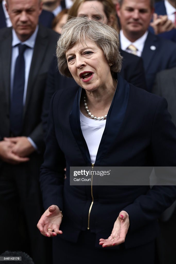 British Home Secretary Theresa May makes a statement after Andrea Leadsom pulled out of the contest earlier today to become Conservative Party leader outside the Houses of Parliament on July 11, 2016 in London, England. Theresa May will become the UK's new Prime Minister on Wednesday evening after David Cameron holds his final PMQs and visits the Queen to officially resign his position.