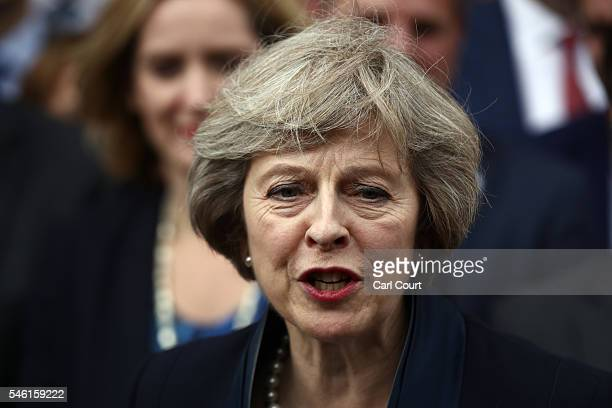 British Home Secretary Theresa May makes a statement after Andrea Leadsom pulled out of the contest earlier today to become Conservative Party leader...