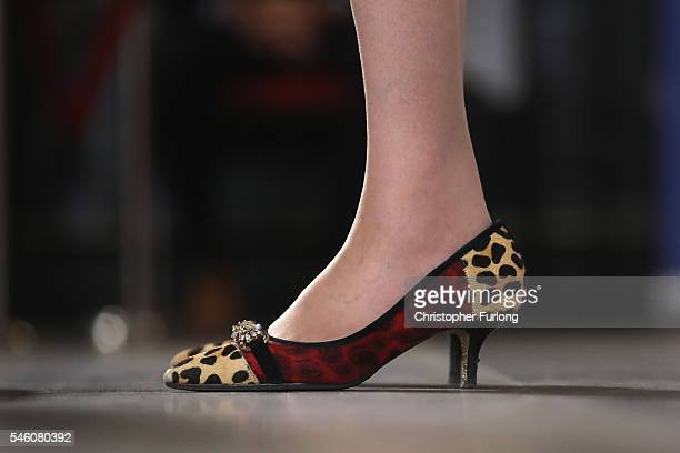 British Home Secretary Theresa May shoe detail launches her Conservative party leadership campaign at the IET events venue on July 11 2016 in...