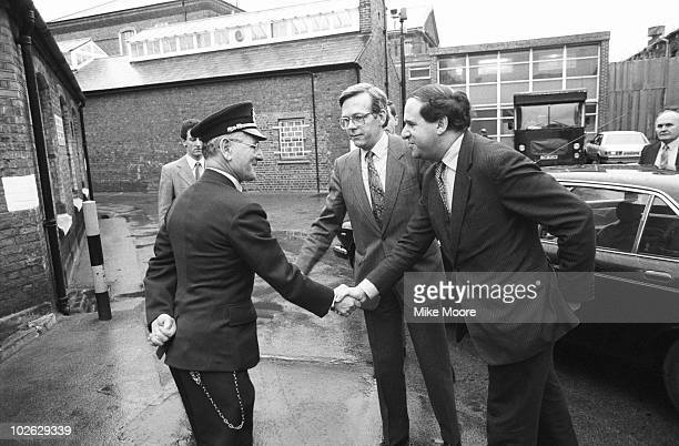 British home sectretary Leon Brittan visits a prison on January 11 1984
