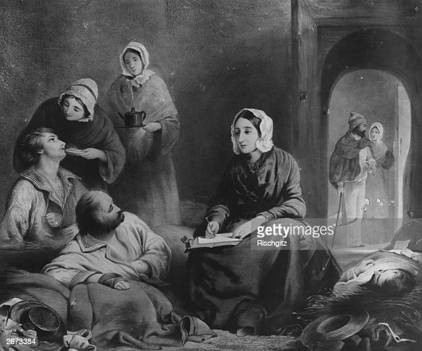 British hospital reformer and nurse Florence Nightingale at work in the Therapia Hospital