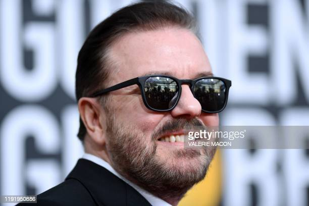 British host Ricky Gervais arrives for the 77th annual Golden Globe Awards on January 5 at The Beverly Hilton hotel in Beverly Hills California