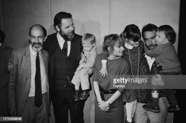 British hostages return from captivity in Libya, after the Archbishop of Canterbury's special envoy Terry Waite negotiated their release, Gatwick...