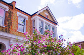 British house with flowers