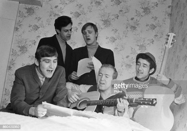 British humorous pop group The Barron Knights UK 1st March 1976 Not in order bassist Barron Antony guitarist Peter Langford singer Duke D'Mond...