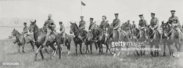 British hussars at Saint-Quentin, English cavalry in France, World War I, from L'Illustrazione Italiana, Year XLI, No 38, September 20, 1914.