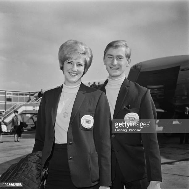 British ice dancers Diane Towler and Bernard Ford arrive back at London Airport after winning the ice dance event at the World Figure Skating...