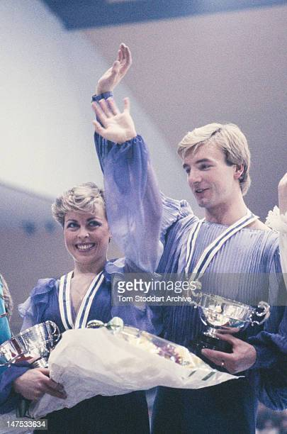 British ice dancers Jayne Torvill and Christopher Dean after winning the Ice Dancing event at the British Figure Skating Championships in Nottingham...