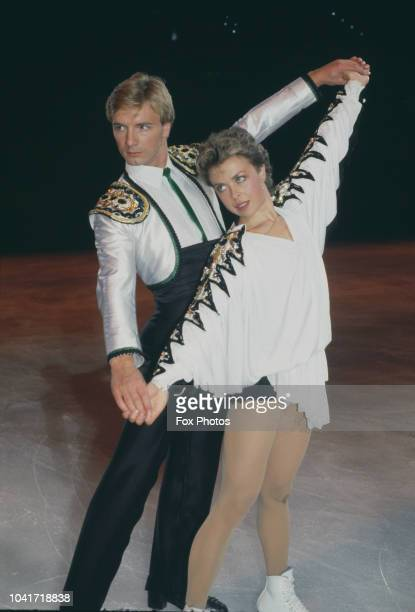 British ice dancers Torvill and Dean rehearse for their Ice Show Spectacular at Wembley Arena London July 1985