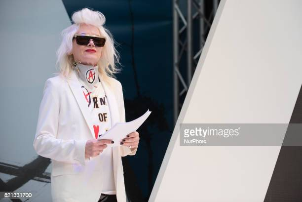 British iconic fashion designer Pam Hogg holds a conference at Pure London fashion fair, London on July 23, 2017. Pure London is the UKs leading...