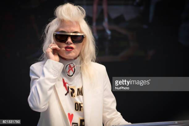 British iconic fashion designer Pam Hogg holds a conference at Pure London fashion fair London on July 23 2017 Pure London is the UKs leading fashion...
