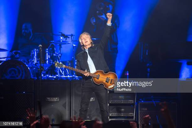 British iconic musician Paul McCartney performs live on stage at The O2 arena during his 'Freshen Up' tour, in London, UK on December 16, 2018.