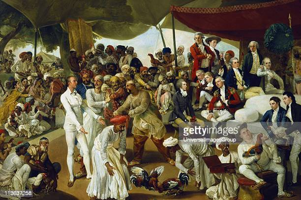 British in India Colonel Mordaunt watching a cock fight at Lucknow Artist Johann Zoffany