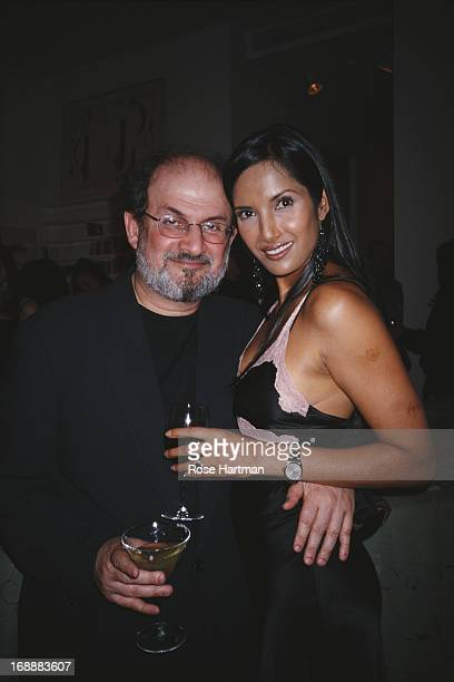 British Indian novelist Salman Rushdie with his partner actress and author Padma Lakshmi at a Talk Magazine party for Martin Amis in New York City...