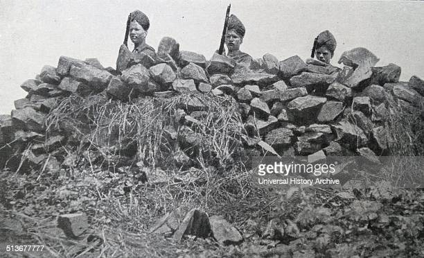 British Indian soldiers behind a fortification in East Africa during world war one 1915