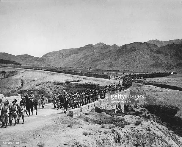 British Indian troops secure the northwestern border in the region of the Khyber Pass around 1939