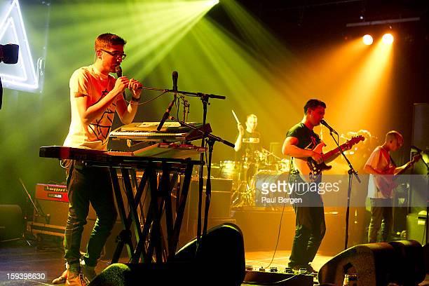 British indie band Alt J performs on stage at Melkweg Amsterdam Netherlands 14 November 2012 Gus UngerHamilton Thom Green Joe Newman and Gwil...