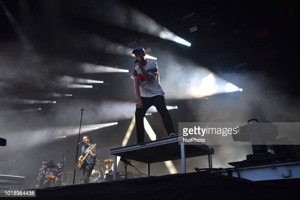 British indie pop band Bastille perform on stage during day two of Rize Festival in Chelmsford on August 18 2018 The band consists of lead vocalist...