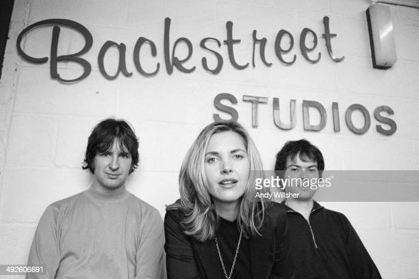 British indie pop band Saint Etienne at Backstreet studios London circa 1993 Left to right keyboard player Bob Stanley singer Sarah Cracknell and...