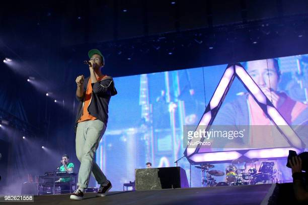 British indie rock band Bastille performs at the Rock in Rio Lisboa 2018 music festival in Lisbon Portugal on June 23 2018