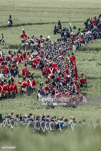 British infantry Battle of Waterloo 1815 Napoleonic Wars 19th century Historical reenactment