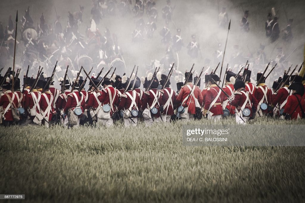 British infantry on the battlefield at Waterloo... : News Photo